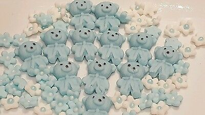 Baby Shower christening edible sugarpaste cake toppers ( 62 per set ) in blue