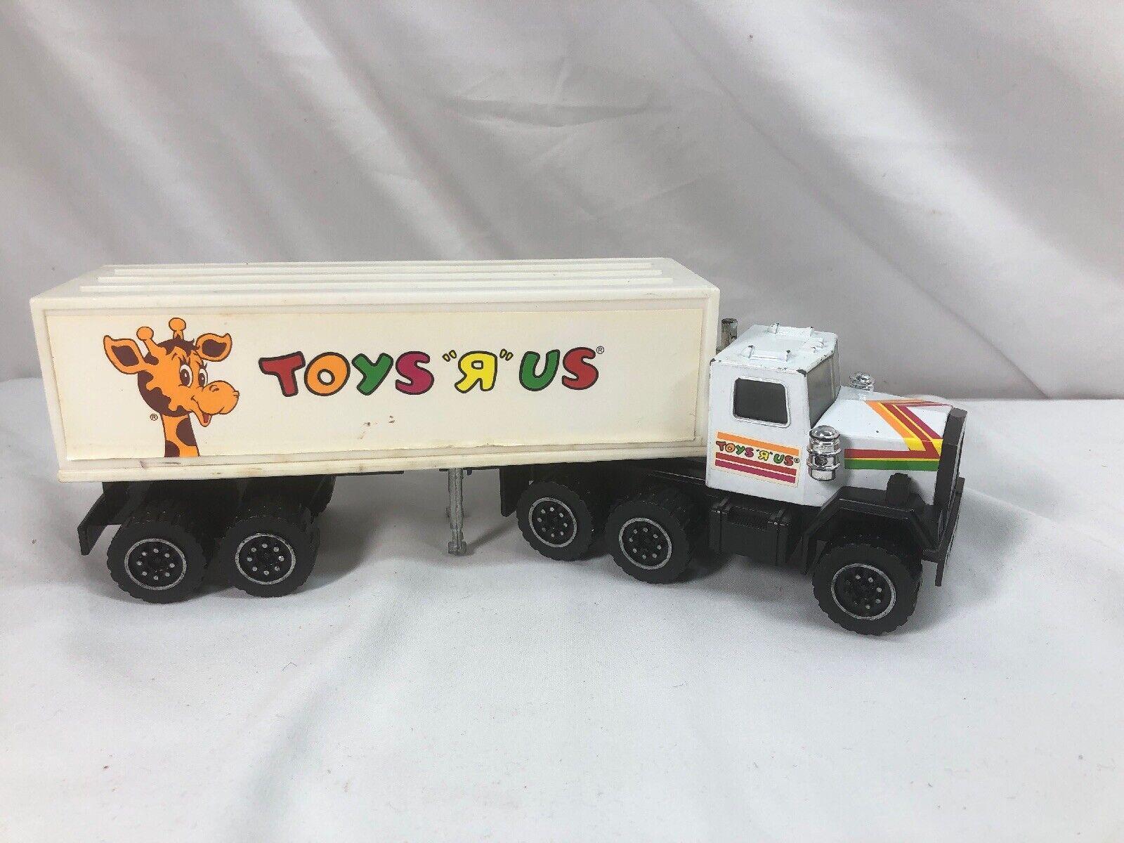1986 Vintage 1988 Remco Toys R Us Semi Camión & Remolque De Juguete De Tienda Oficial Raro