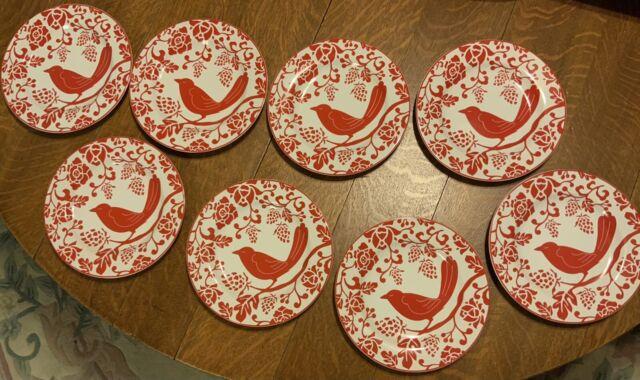 "Set of 8 Pier 1 Stoneware RED BIRD 8-1/4"" Salad Dessert Plates NEW - NEVER USED"