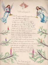 Schöner Schmuckbrief 2 Oblaten Glanzbilder Engel Weihnachten Gedicht Kinderbrief