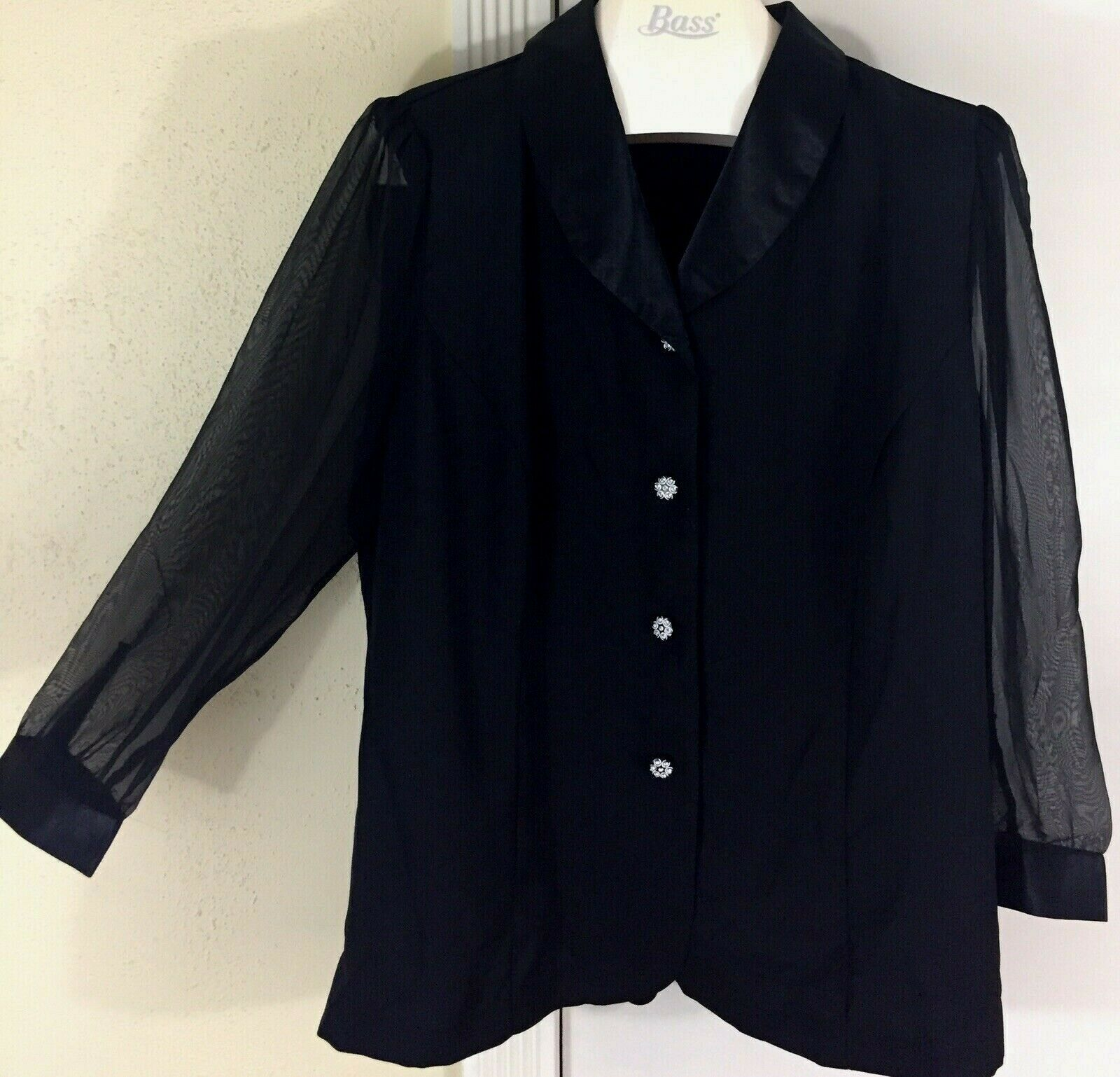 NWOT Candlelight & Champagne PLus Size 22W Black Sheer Sleeves Blouse Top Formal