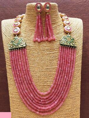 Indian Bollywood Red Padmavati Necklace Earrings Set Wedding Jewelry Diwali