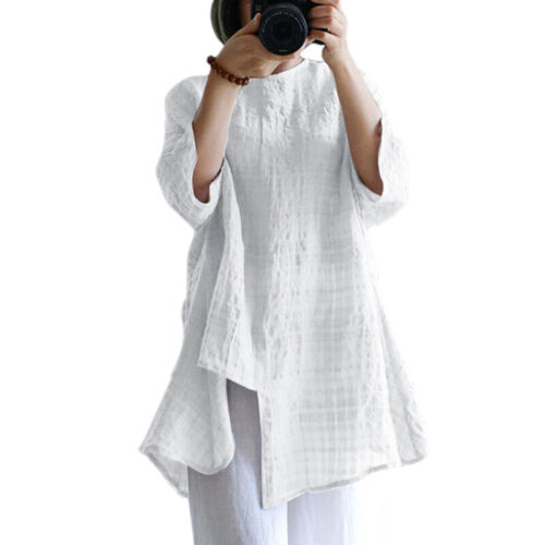 Women Plaid Cotton 3//4 Sleeve Baggy Loose Blouse Tunic Long Top Dress Shirt Tos