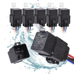 5pcs-12V-5-PIN-SPDT-40-30-Amp-Relay-Wire-Harness-Pre-wired-Universal-Waterproof