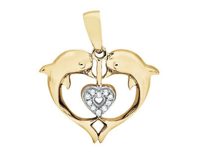 """Rapture 10k Yellow Gold Kissing Dolphin Heart Genuine Diamond 3/4"""" Pendant Charm .03ct Selected Material Fine Jewelry"""