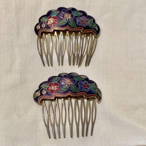 Vintage Enamelled Floral Hair Pins 1970-80s 2 Piec