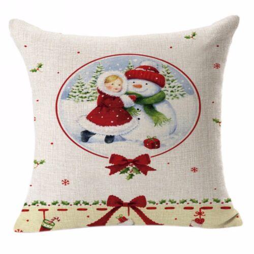 """18/"""" Cotton Linen Sofa Car Home Waist Cushion Cover Throw Pillow Case XMAS Decor"""