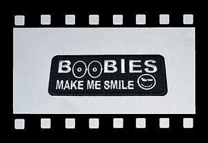 Boobies-Make-Me-Smile-Patch-Funny-Aufnaeher-Aufbuegler-Badge-Biker-Titts