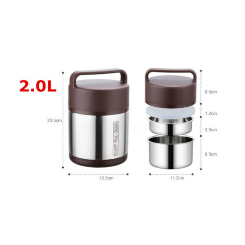 Stainless Steel Vacuum Insulated Lunch Box Jar Cold Hot Thermos Food Container