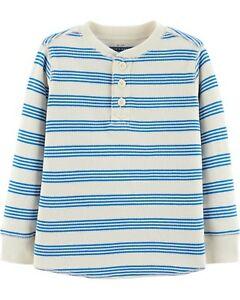 c5346d400 OshKosh B'Gosh Infant Boys Cream with Blue StripesThermal Henley ...