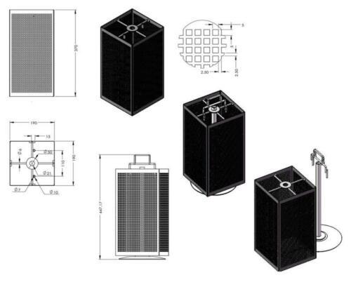 Vierseitiger Lochblechständer für die Theke schwarz