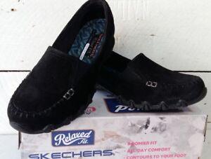 f9b34832cfc Image is loading Ladies-Skechers-Biker-wayfarer-44727-Suede-Black-Slip-