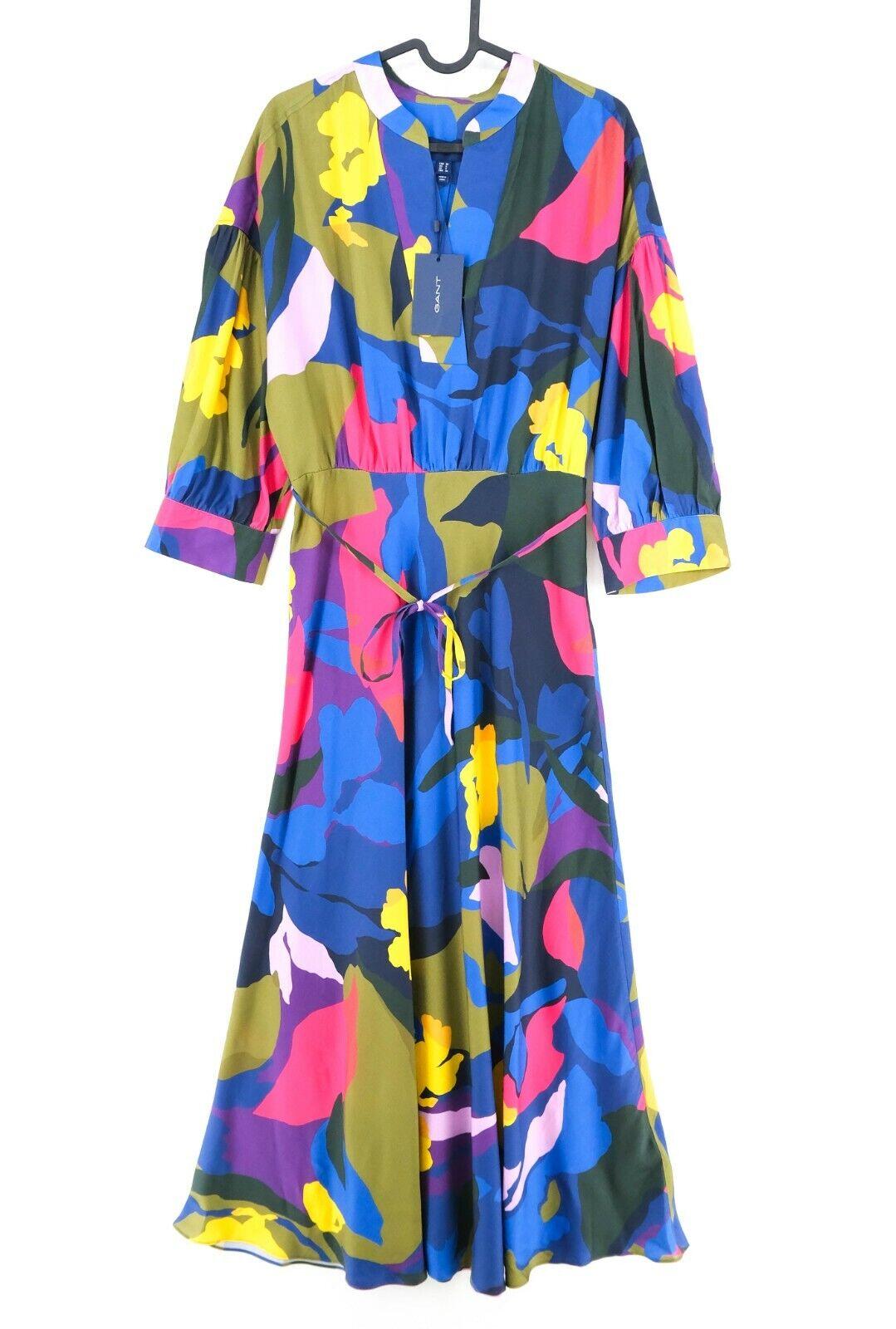 GANT Blue Splendid Floral V Neck Long Dress Size 36 EU 8 US 6