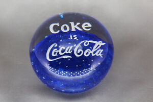 Vintage-COKE-IS-COCA-COLA-Art-Glass-Blue-Paperweight-White-Lettering