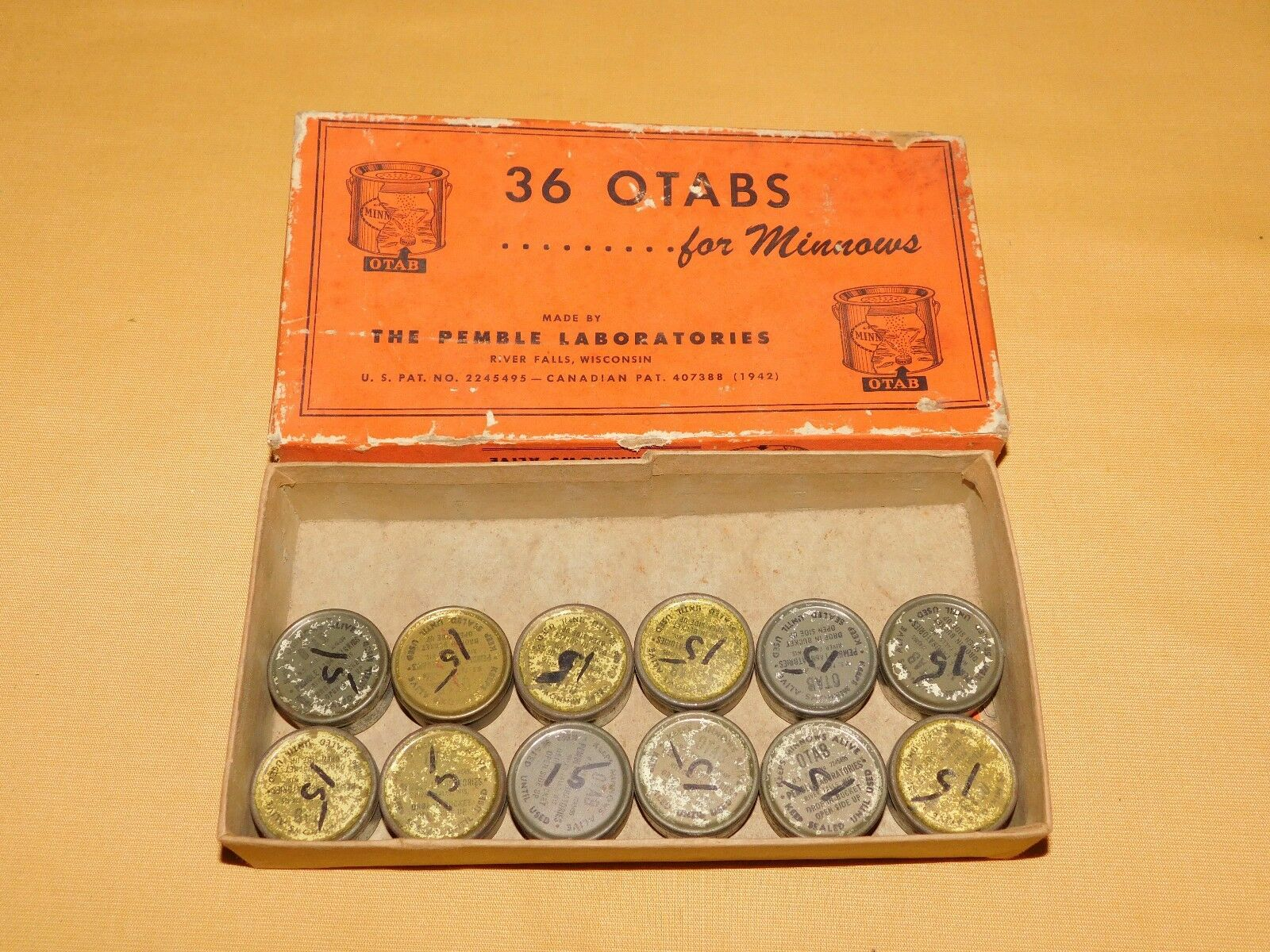 VINTAGE FISHING 12 OTABS FOR MINNOWS IN BOX
