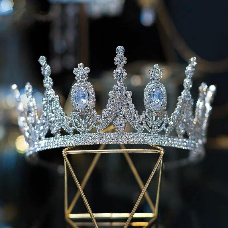 Luxury Crystal Rhinestones Zircon Women Wedding Beauty Pageant Crown Accessories