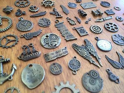 5-80 random vintage look bronze steampunk charm scrap booking card craft bulk