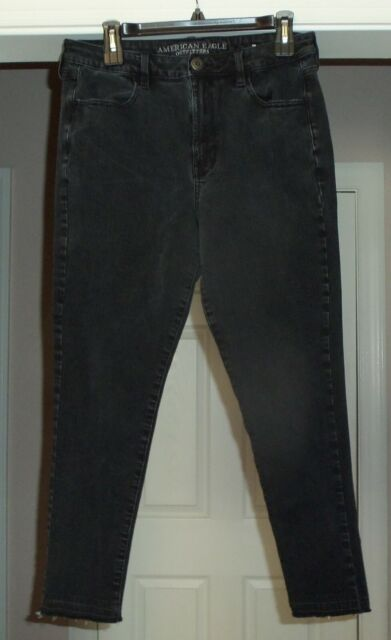 Womens AE American Eagle High Rise Super Stretch X4 Black Jeans Jegging Size 12