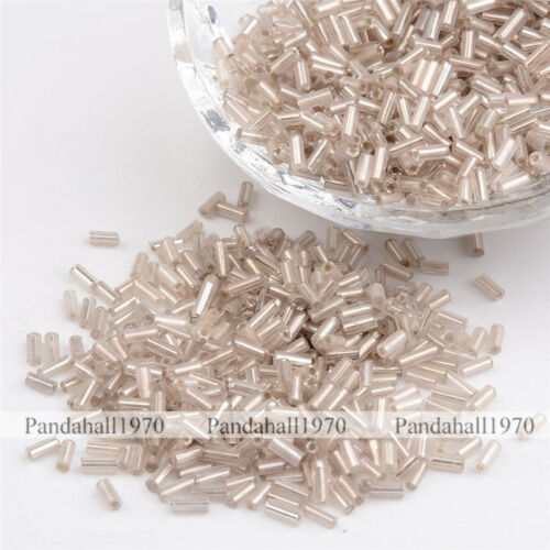 Clear Silver-Lined Glass Bugle Seed Beads Jewelry Making 1.8x4.5mm 1250pcs//50g