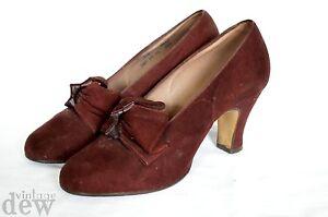 original-1940-039-s-BURGUNDY-LEATHER-SUEDE-heels-BOW-FRONT-WW2-BLITZ-size-UK-2-1-5