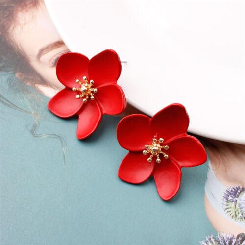Bohemian Women Crystal Pearl Flowers Printing Ear Stud Earrings Jewelry Gift