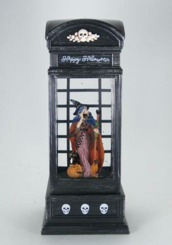Lighted Witch in Phone Booth Spinning Water Globe 6 hr Timer Halloween Decor