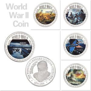 WR-5X-World-War-II-Greatest-Battles-Art-Medal-Coin-Round-Set-WW-2-Collectibles