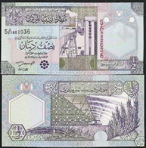 LIBYA 1//2 DINAR P63 2002 OIL REFINERY IRRIGATION UNC MONEY BILL BANK NOTE