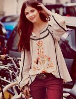 Anthropologie Free People Tiger Lily Embroidered Blouse Top Size XS