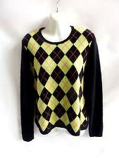 100% Cashmere Sweater Size M Black Neon Green Argyle Scoop Neck Mc Duff 42 Chest