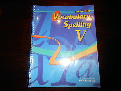 ABEKA Vocabulary Spelling Poetry V Teacher key to workbook homeschool 11th grade