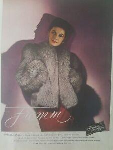 1944-Mujer-Fromm-Silverblue-Fox-Vintage-Moda-Anuncio