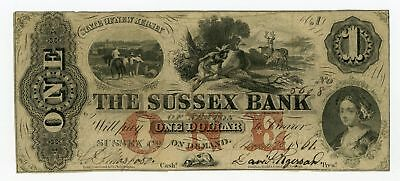 1861 $1 The Sussex Bank - NEW JERSEY (Altered) Note CIVIL WAR Era
