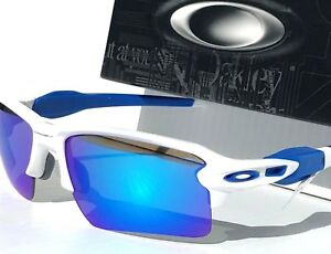 d5913e30fa2 NEW  Oakley FLAK JACKET 2.0 WHITE w ROYAL Blue Sapphire Lens ...