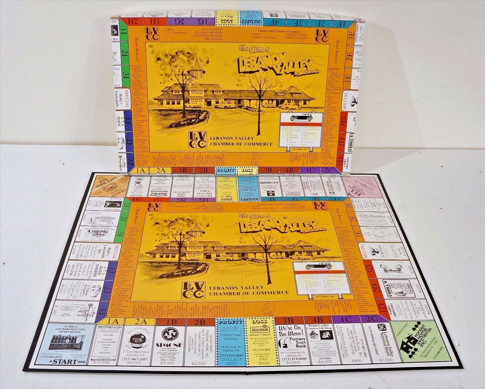LEBANON VALLEY BOARD GAME Chamber Of Commerce Dec. 1989 Local PA Vintage RARE