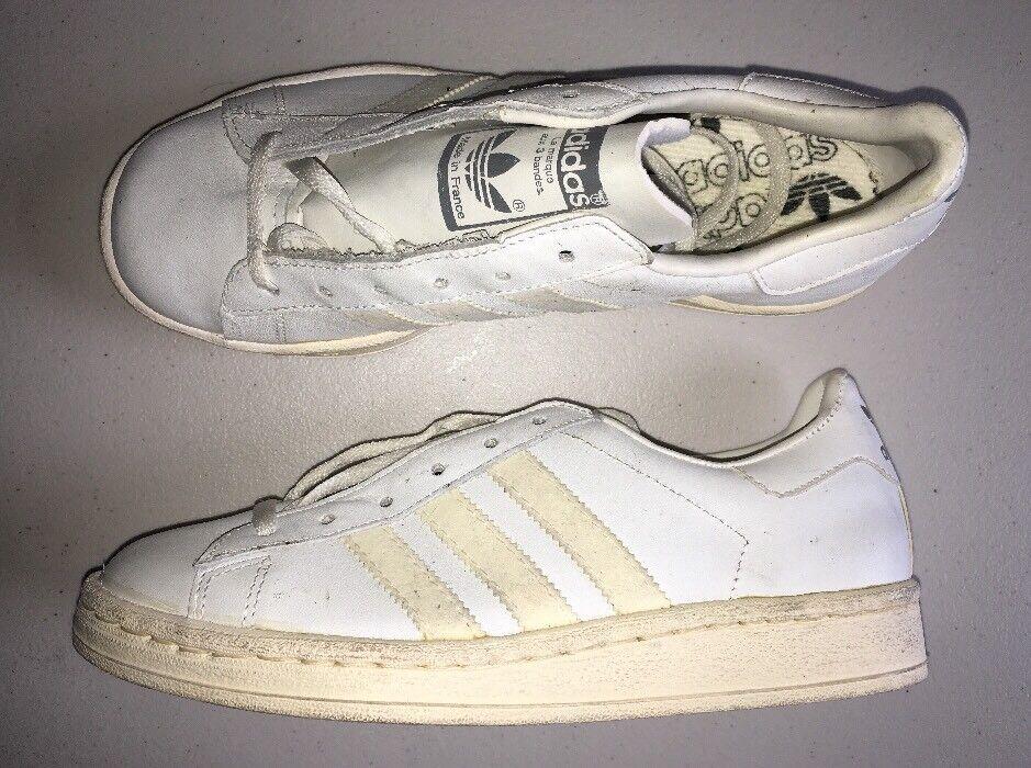 Zapatos hombres  Tenis Adidas Vintage Hecho en Francia para hombres Zapatos 4.5 DEADSTOCK Blanco 80s e65f8b