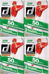 4-2019-Donruss-Baseball-Trading-Cards-50c-HANGER-Box-LOT-Orange-amp-DiamondAwe-PC