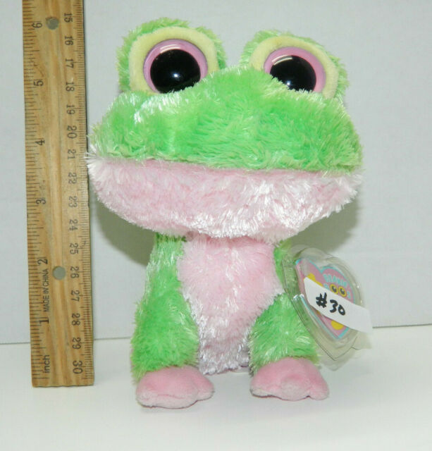Ty Beanie Boos 6 Kiwi Plush Green Purple Frog Solid Eyes 2009 Nwmt