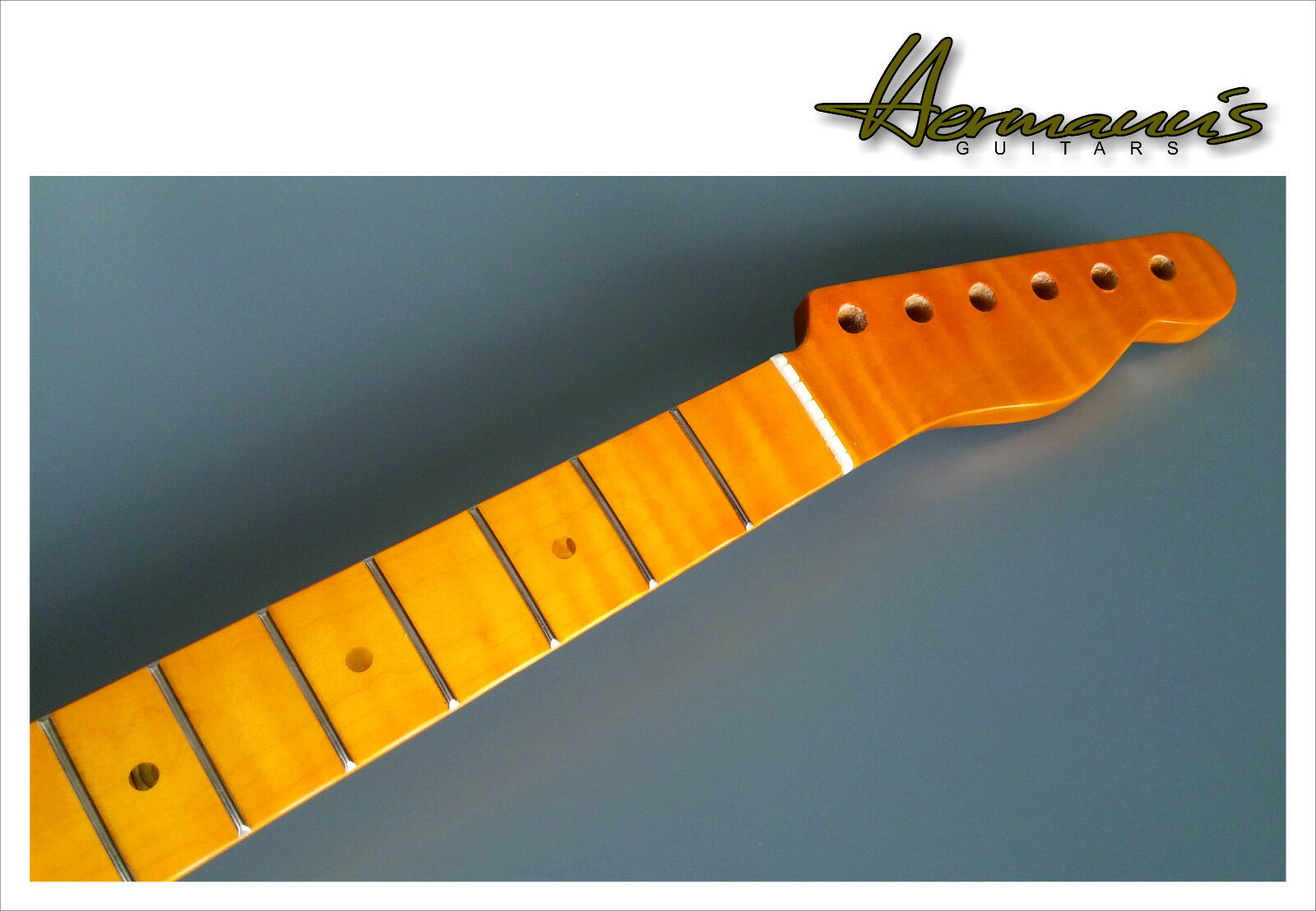 Telecaster HQ One Piece Canadian Tigerstripe Flamed Maple Neck, Vintage Finish