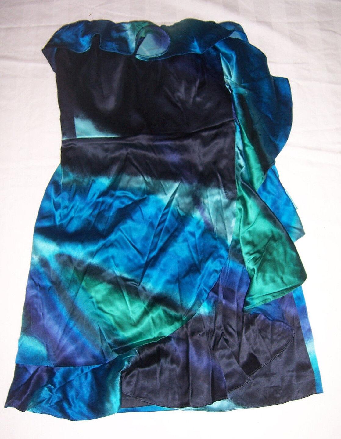 NWT Express schwarz Grün & Blau Silk Strapless Ruffled Dress Misses Größe 4