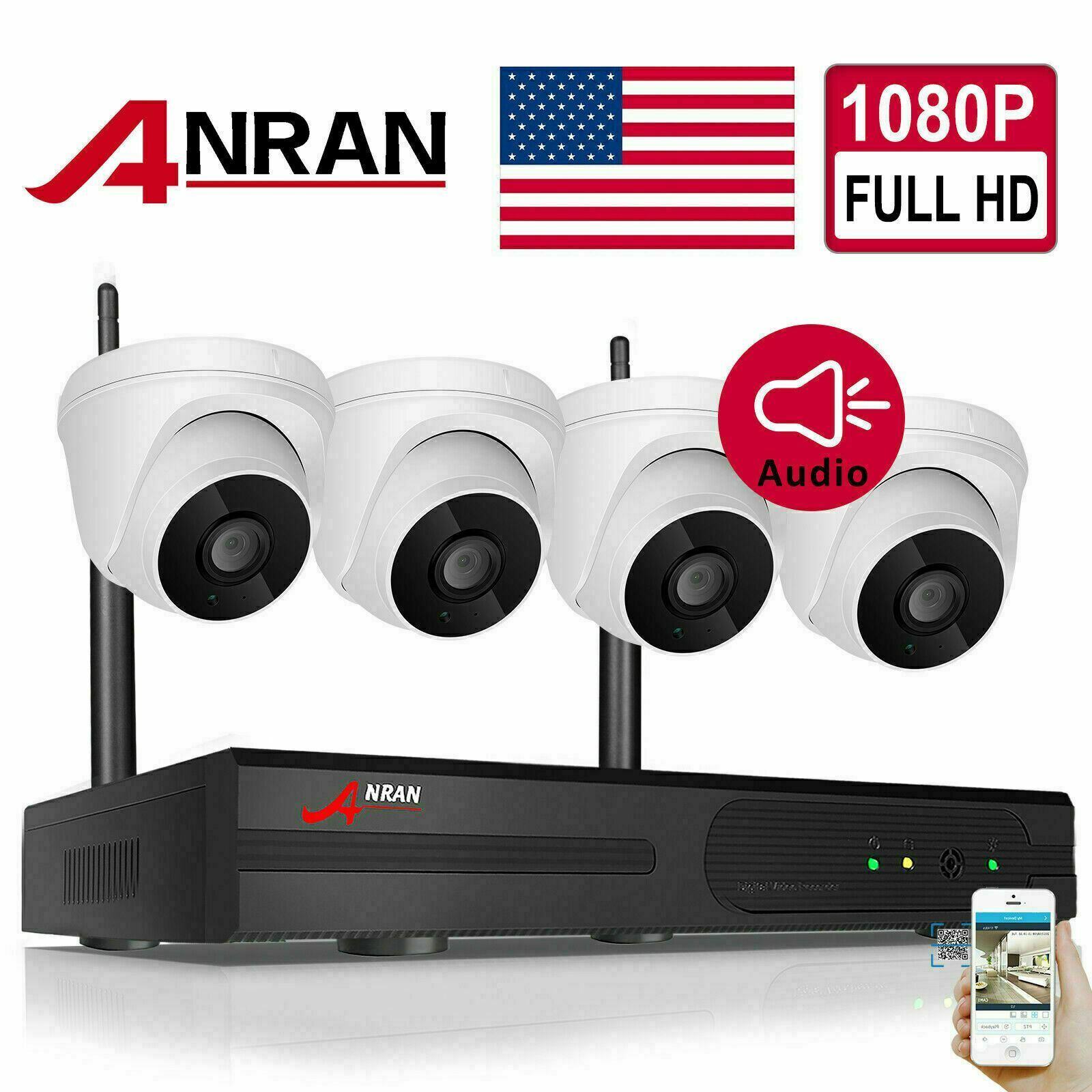 1080P HD Wifi Security Camera System Wireless Outdoor IP CCTV 8CH NVR Kit APP US. Available Now for 149.99