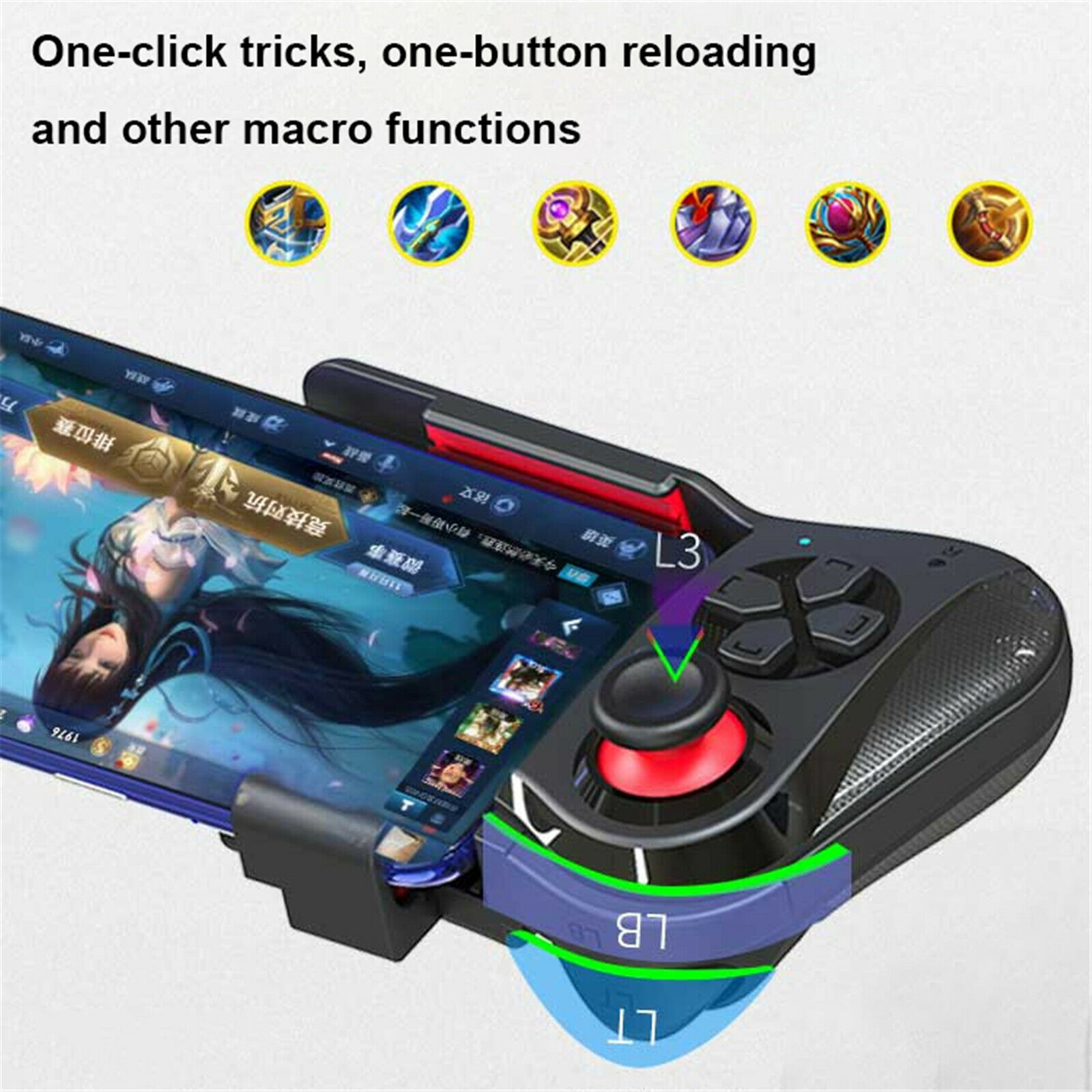 Color : Black, Size : One Size Dertyped Single Hand Gamepad Android MacOS Bluetooth Vibration Gamepad Game Controller