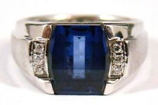 MENS Solid 14K WHITE GOLD SAPPHIRE & DIAMOND RING Size 7 Pinky 4.6g Barrel CUT