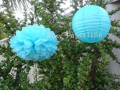 8x green paper pom poms lanterns birthday wedding party baby shower decoration