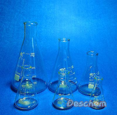 Glass Erlenmeyer Flask Kit,Lab Boro3.3 Conical Bottle,Normal Neck,6PCS/Lot