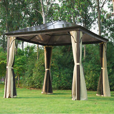 Outsunny 10'x10' Gazebo Canopy Patio Hard Roof Shelter Curtains Garden Backyard