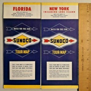 Details about 1964 Sunoco Road Map: New York & Florida United States -- 1352