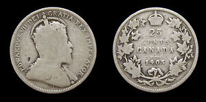 Canada-1905-25-Cent-King-Edward-VII-Silver-Coin-G-6