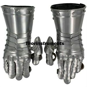 Medieval-Armor-Knight-Gauntlets-Functional-Gauntlet-Gloves-Chrome-Finish