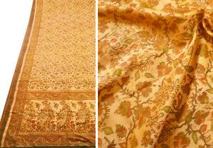 Vintage-NEW-Silk-Ikat-Floral-Sari-Saree-Fabric-India-Iridescent-Orange-Green